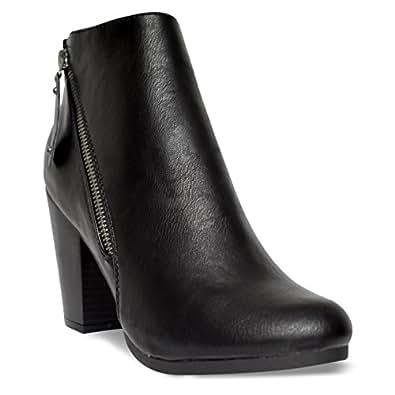 Breckelle's Women's Asymmetrical Zipper Chunky Heel Moto Bootie, TS Gail-28 Black Size 5.5