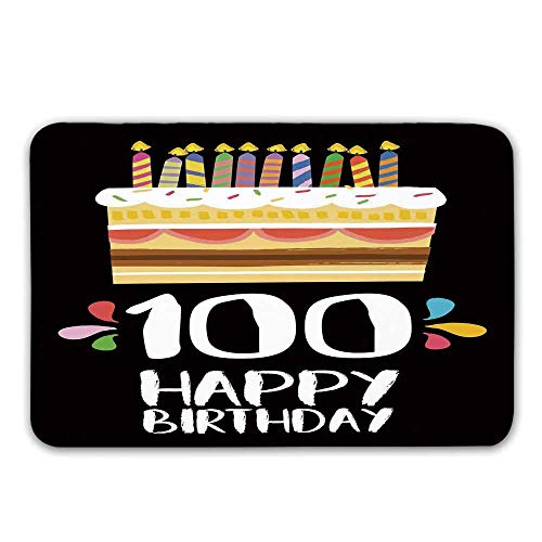 100th Birthday Decorations Non Slip Rubber Entrance Rug,Old Legacy 100 Birthday Party Cake Candles on Black Backdrop Doormat for Front Door,31.5