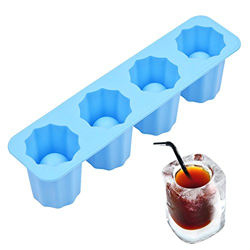 Silicone Ice Shot Glass Mold,4-cups Square Blue Ice Cube Tray,Jelly Tray ,Cake Cup Mold ,Food Grade Silicone Ice Mold-Blue