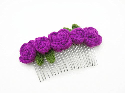 Hair Comb Slides Clip Girl Accessories Crochet Flower Roses Purple Orchid