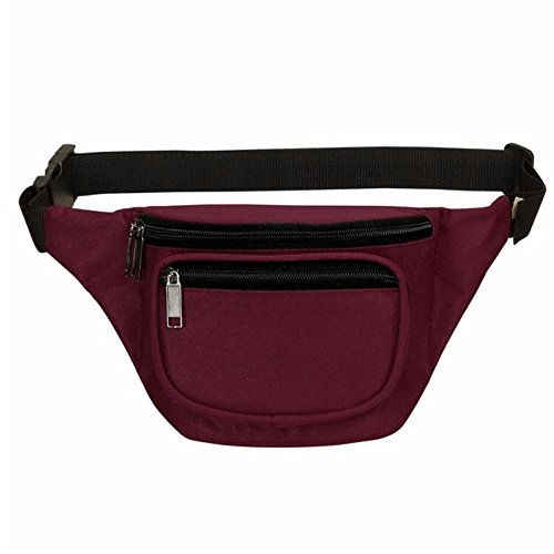 Fanny Pack, BuyAgain Quick Release Buckle Travel Sport Waist Fanny Pack Bag - Burgundy