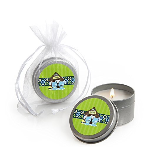 Big Dot of Happiness Twin Boy Puppy Dogs - Candle Tin Baby Shower Favors - Set of 12 ()