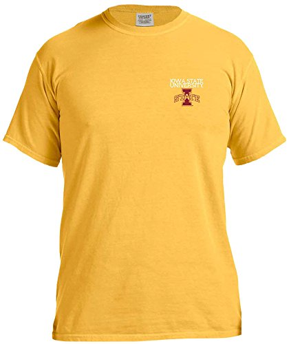 NCAA Iowa State Cyclones Simple Circle Comfort Color Short Sleeve T-Shirt, Citrus,Medium