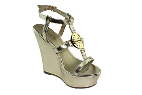 Breckelles Womens Carina-14 T-strap Wedge Platform Sandals Party High Heels 4JEArv