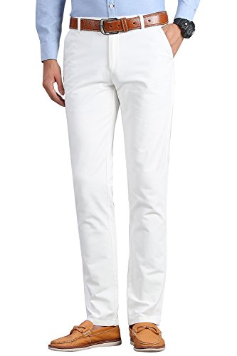 INFLATION Men's 100% Cotton Slightly Stretchy Slim Fit Casual Pants, Flat Front Trousers Dress Pants for Men - White Slacks