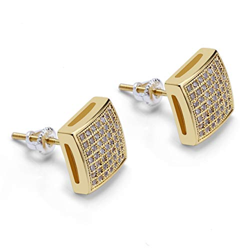 Mens Hip Hop Iced Out XL Large Square Flat Screen Block Screw Back Stud Earring (GOLD TONE)
