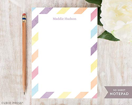 STRIPES NOTEPAD - Personalized Stationery/Stationary Watercolor Kids 5x7 or 8x10 Note Pad (Notepad Gold Stripe)