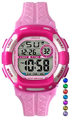 Kids Watches Girls Boys Digital 7-Color Flashing Light Water Resistant 100FT Alarm Gifts for Girls Boys Age 4-10 481 (Pink-w)