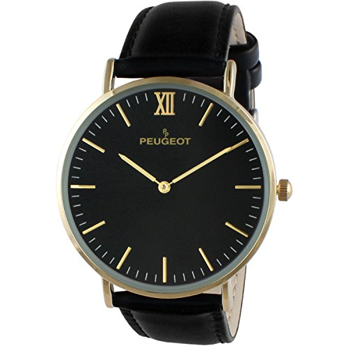 Peugeot Super Slim 14K Gold Plated Black Genuine Leather Band Sheffield Watch - Aviators Outfitters Urban