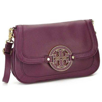 TORY BURCH Amanda Crossbody Clutch Bag Logo Leather Tribe Violet - Burch Tory Purple Bag