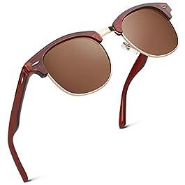 Polarized Sunglasses for Men Women Semi-Rimless Retro Driving Sun Glasses 100% UV400