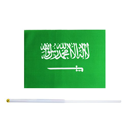 Kind Girl 50 Pack Hand Held Small Mini Flag Saudi Arabia Flag Saudi Arabians Flag Stick Flag Round Top National Country Flags,Party Decorations Supplies for Parades,World Cup,Sports Events, Festival