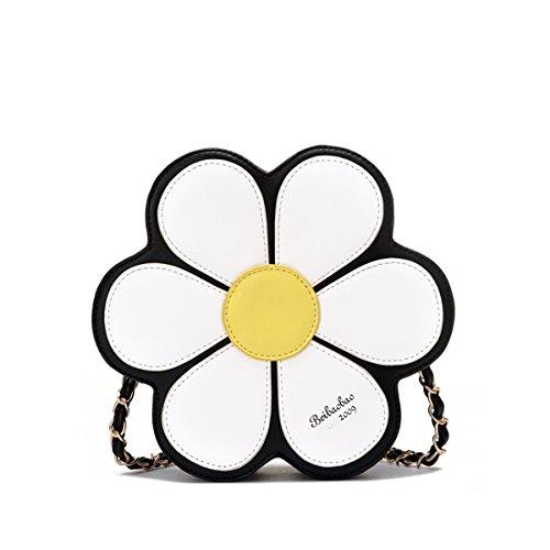 negro de Flor de Crossbody Mujeres PU Hombro Bolsa Cuero Bolso Margarita qpxtvwCO