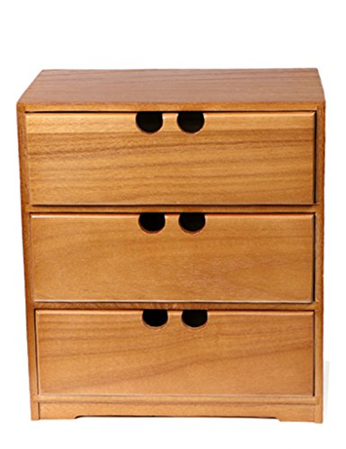 Solid Wood Drawer Type Desktop Storage Box Desk Storage Cabinet (Color : 3 layers) by Cosmetic Cases