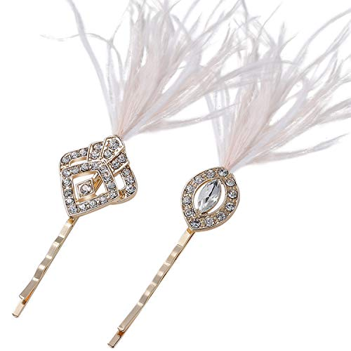 BABEYOND Vintage Hair Pins Clips for Women 1920s Crystal Rhinestone Hair Pins Great Gatsby Hair Piece (Gold with Feather)