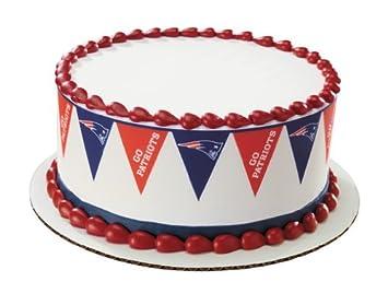 Stupendous New England Patriots Football Pennant Edible Cake Border Amazon Funny Birthday Cards Online Elaedamsfinfo