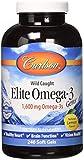 Carlson Elite Omega 3 Gems, 1250mg, Lemon Flavored, 240 Softgels