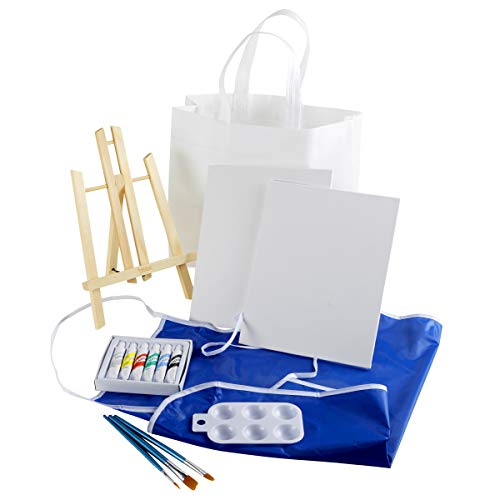 (Artlicious - Complete Easel Set - Easel, Canvas Panel Boards, Acrylic Paints, Paint Brushes & Palette (15 Piece)