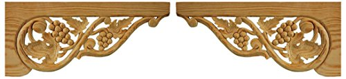 - Wild Goose Carvings Vine Leaf Arch Crown Pediment. Hand Carved in Solid Natural Pinewood. Supplied as a Matching Pair. Each Piece 6½ in high x 14¾ in Wide x ½ in Thick