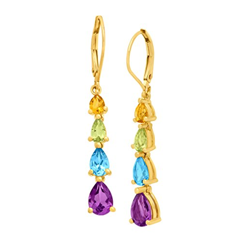 3 ct Natural Citrine, Peridot, Swiss Blue Topaz and Amethyst Drop Earrings in 10K Gold