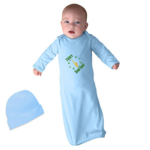 - Cute Rascals Future Band Geek Saxophone Infant Baby Rib Layette Sleeping Gown Light Blue Gown & Hat Set