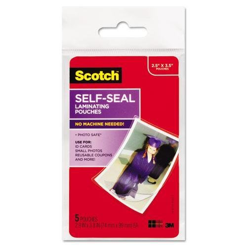 (Scotch PL903G Self-Sealing Laminating Pouches, Glossy, 2 13/16 x 3 3/4, Wallet Size, 5/Pack)