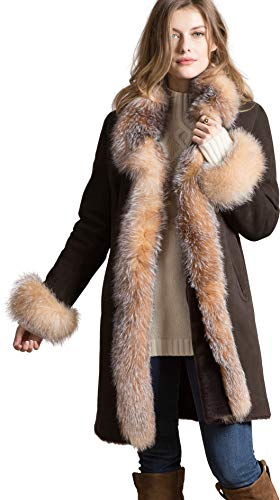 Chantal Reversible Sheepskin Coat with Crystal Fox Fur Trim