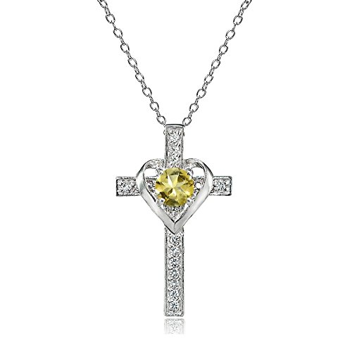 Sterling Silver Citrine and White Topaz Heart in Cross Necklace for Women Girls