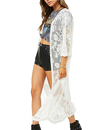 Womens White Crochet Cover Up Cardigan Long Open Front Mesh Embroidered Beach Coverups Kimono ()
