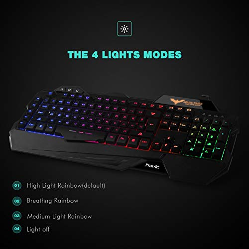 314d063beeb Havit Keyboard Rainbow Backlit Wired Gaming Keyboard Mouse Combo, LED 104 Keys  USB Ergonomic Wrist Rest Keyboard, 3200DPI 6 Button Mouse for Windows PC ...