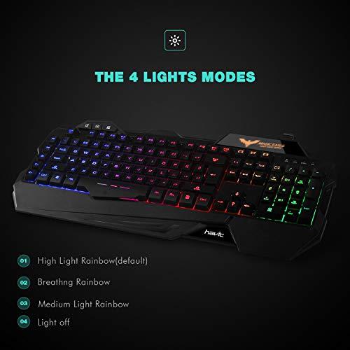 Havit Keyboard Rainbow Backlit Wired Gaming Keyboard Mouse Combo, LED 104 Keys USB Ergonomic Wrist Rest Keyboard, 3200DPI 6 Button Mouse for Windows PC Gamer Desktop, Computer (Black)