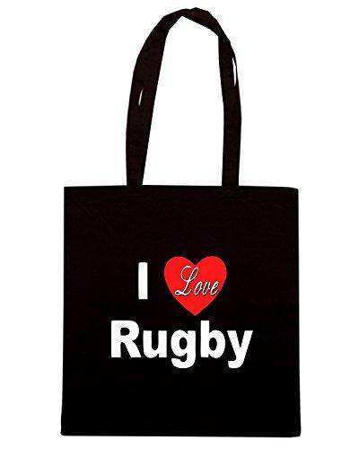 T-Shirtshock - Bolsa para la compra TRUG0111 i love rugby logo Negro
