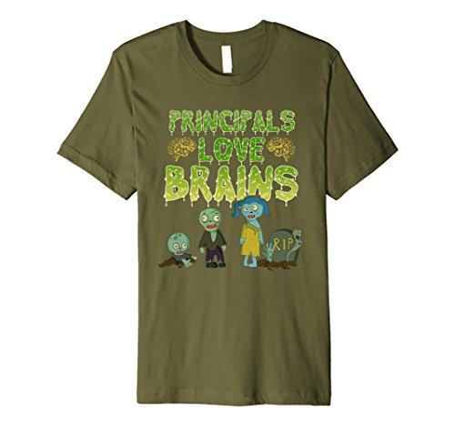 Mens Principals Love Brains T-Shirt - Halloween Zombie Shirt XL Olive - School Principal Halloween Costume