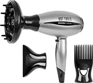 Hot Tools Diamond Platinum Mid-size Ionic Salon Hair Dryer-1600 Watt