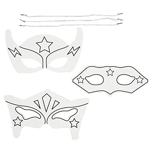 Fun Express - Cyo Superhero Mask ck for Halloween - Craft Kits - CYO - Paper - Misc CYO - Paper - Halloween - 12 Pieces