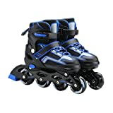 YANGXIAOYU Adult Beginners Children's Inline Skates, Professional Roller Shoes, Anti-Collision Shock All Flash Wheel, Helmet + Protective Gear, Black + Blue Black + Red