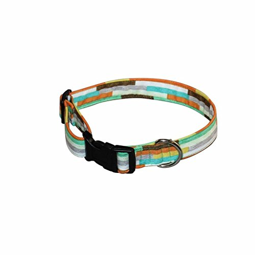 Wood Plank 100% Cotton Adjustable Dog Collar - Small (Orange, Green and Yellow - 8-12