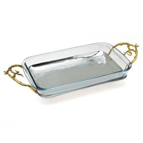 Godinger Silver Art Leaf 3-quart Stainless Steel Rectangular Baker Baking Dish With Gold-plated Handles by Godinger
