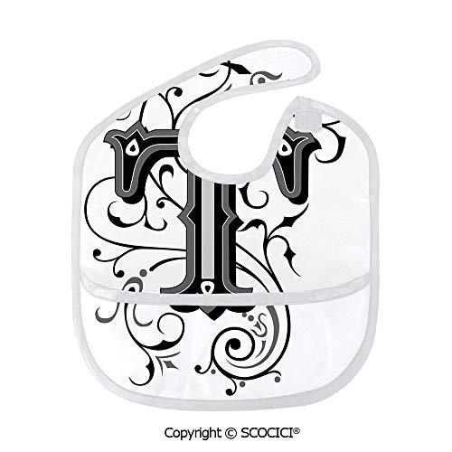 SCOCICI Durable Soft Lightweight and Comfortable Baby Bib Symmetrical Uppercase Letter in Renaissance Art Style Ornamental Monochrome Decorative Child Bibs -
