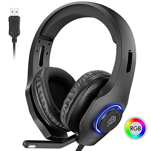 EasySMX PS4 Headset, Headset with Mic, [7.1 Surround Sound], [Noise Reduction Mic], On-Earcup Control, RGB LED Lights, Professional PC Gaming Headset, Gaming Headphones for PS4, PS3, Laptop