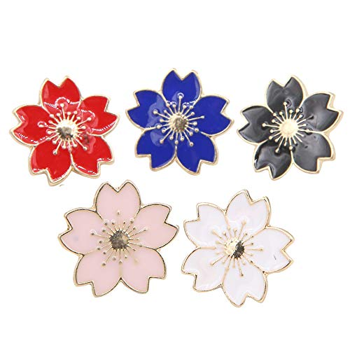 (Apol Beautiful Cherry Blossom Brooches Enamel Brooch Pins Breastpin Set 5 Pieces for Women Girls Clothes Collar Dress Scarf Decoration)
