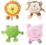 Cheap ZippyPaws Brainey Squeak Plush Dog Toy Kit – Includes Frog, Lion, Monkey, and Pig