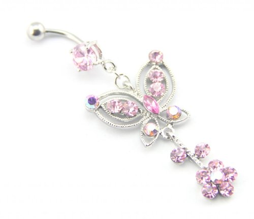 Baqi Pink Butterfly With Flower Dangling Pink Crystals Belly Navel Ring Barbell 14G Pink