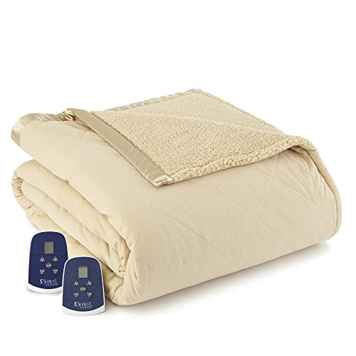 Thermee Micro Flannel Electric Blanket with Sherpa Back, Tan, Twin