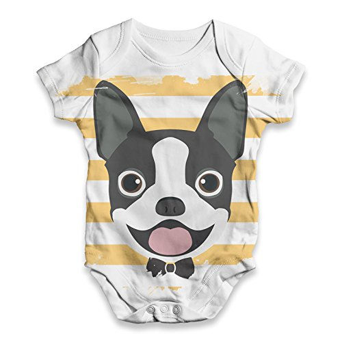 TWISTED ENVY Baby Unisex Boston Terrier All-Over Print Bodysuit Baby Grow Baby Romper 3-6 Months White