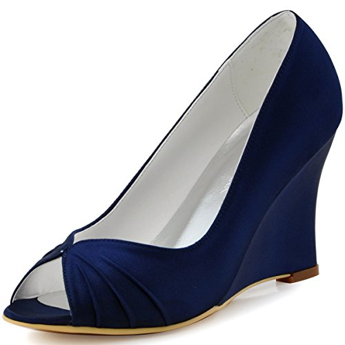 (ElegantPark EP2009 Women Wedges High Heel Pumps Peep Toe Pleated Satin Bridal Wedding Dress Shoes Navy Blue US 9)