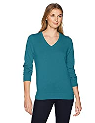 Amazon Essentials Women S Lightweight V Neck Sweater Teal Heather X Large