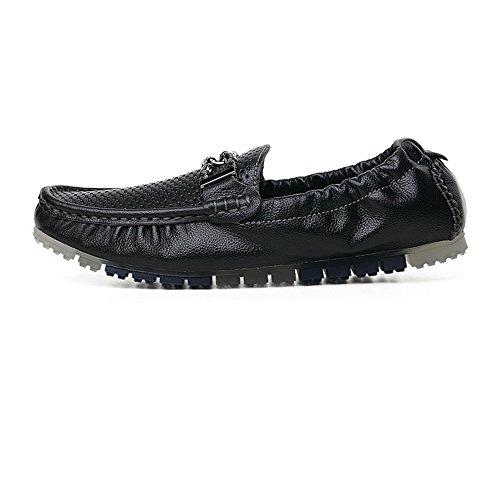 shoes Metal Penny y Meimei Negro Conducción de detrás EU elástico Hombres de decoración Hueco Color Barco los Holgazanes Mocasines de 43 Superior con tamaño 6wdXpq