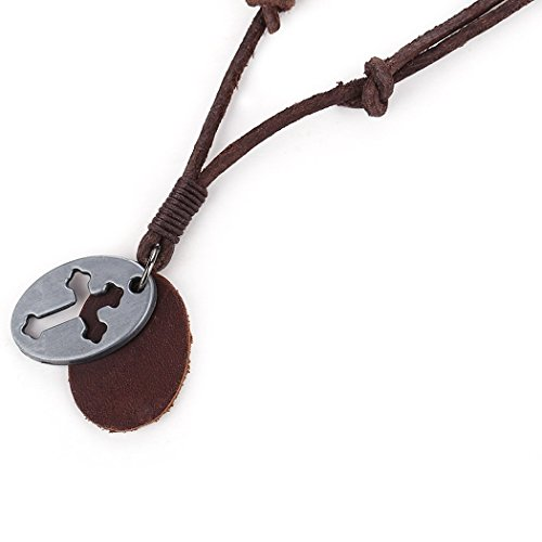MORE FUN Vintage Leather Rope Cross Pendant Necklace Hip Pop Soft Leather Collar Necklace