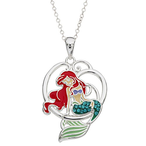 "Disney Little Mermaid Ariel Silver Plated Crystal Pendant, 18"""